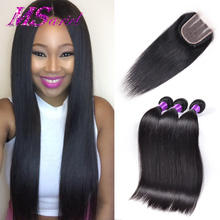 Brazilian Straight Hair with Closure Brazilian Virgin Hair 3 Bundles with Closure Straight 7A Human Hair Weave With Closure