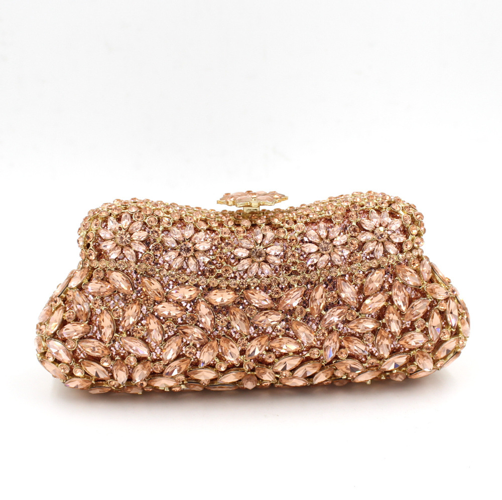 Фотография Best Women Wedding Handbags for Brides Homemade Factory Price Bridesmaid Clutch Purses Wholesale Crystal Cheap Clutches Gold Bag