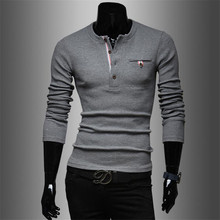 2015 new male models. Harmonia placket splicing men's casual sweaters(China (Mainland))