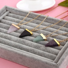 Geometric Pesionality Colorful Nature Stone Necklace Triangle Crystal Necklaces Gems Stones Pendant For Women And Men Wholesale(China (Mainland))