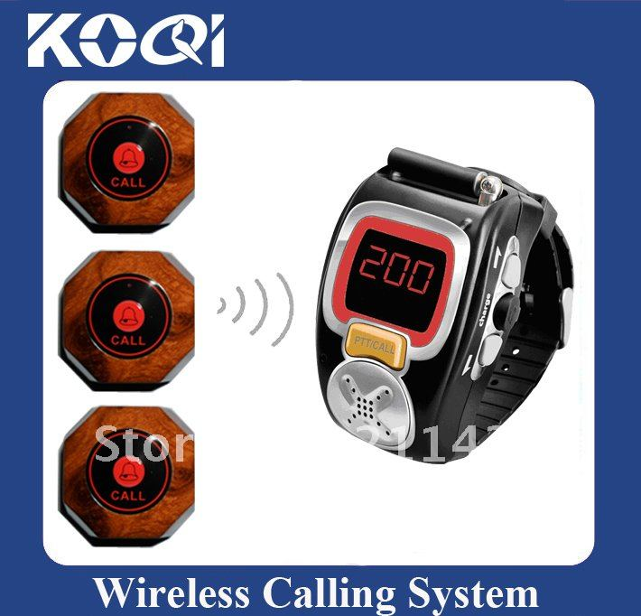 Cheap Wireless Server Paging System, 80pcs of call bell and 3 pcs of wrist waiter pagers,DHL/EMS Free Shipping(China (Mainland))