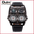 New wristwatch Design Big Face wristwatch OULM Watches Men Compass Thermometer Function Dual Quartz Movement Watch