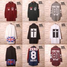 Hip Hop Shirt Casual Plaid Shirts Men High Quality Star Hiphop Tee Streetwear cotton Men Shirt#1016(China (Mainland))