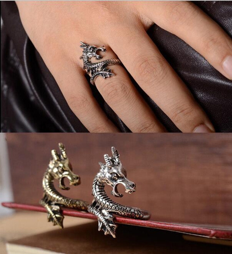 Sale 2015 New Arrival Charms Punk Fashion Exaggerated Rings for Men and Women Vintage Retro Dragon Ring Jewelry Free Shipping(China (Mainland))
