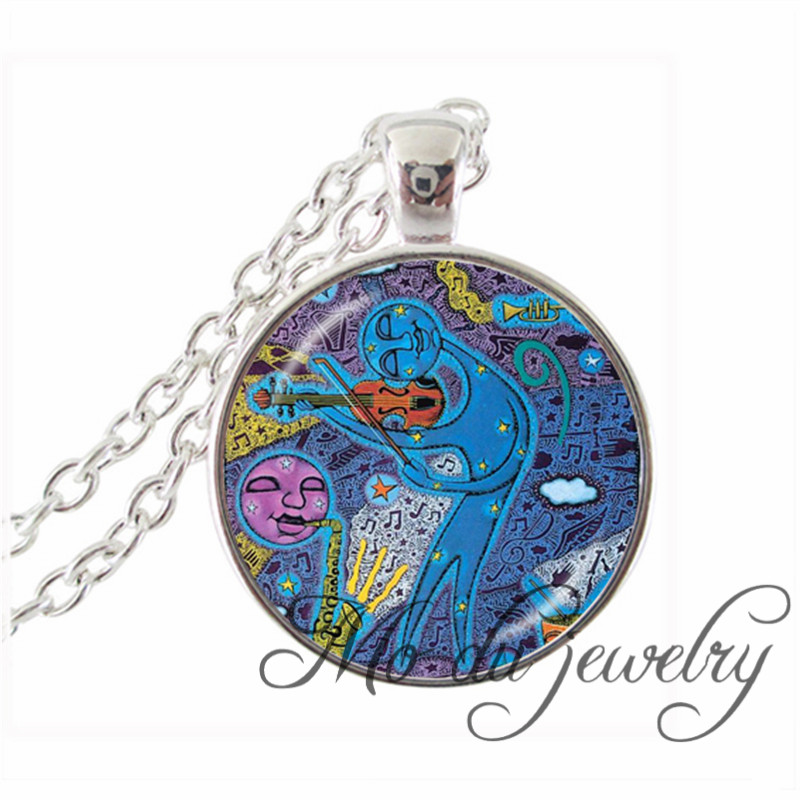 1PC Creative Colorful Glass Pendants Brain Intelligence Music Weed Silver Plated Chain Necklaces Best Gifts For Children Jewelry(China (Mainland))