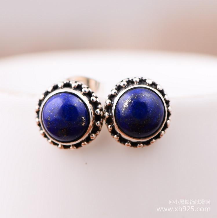 Black silver jewelry wholesale 925 sterling silver jewelry earrings earrings cute lady Lapis xh050812w<br><br>Aliexpress