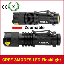 Mini LED Flashlight ZOOM 7W CREE 2000LM Waterproof Lanterna LED 3 Modes Zoomable Torch AA 14500 battery Flashlight Linterna led(China (Mainland))