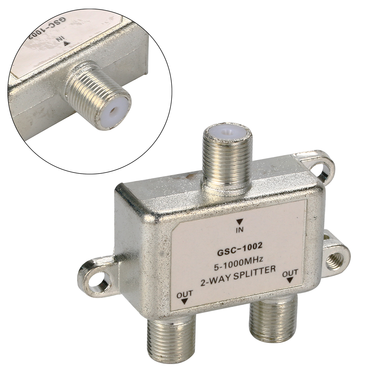 2 Way 5-1000 MHz Signal Coaxial F Connector Splitter Cable TV Switch BI126(China (Mainland))