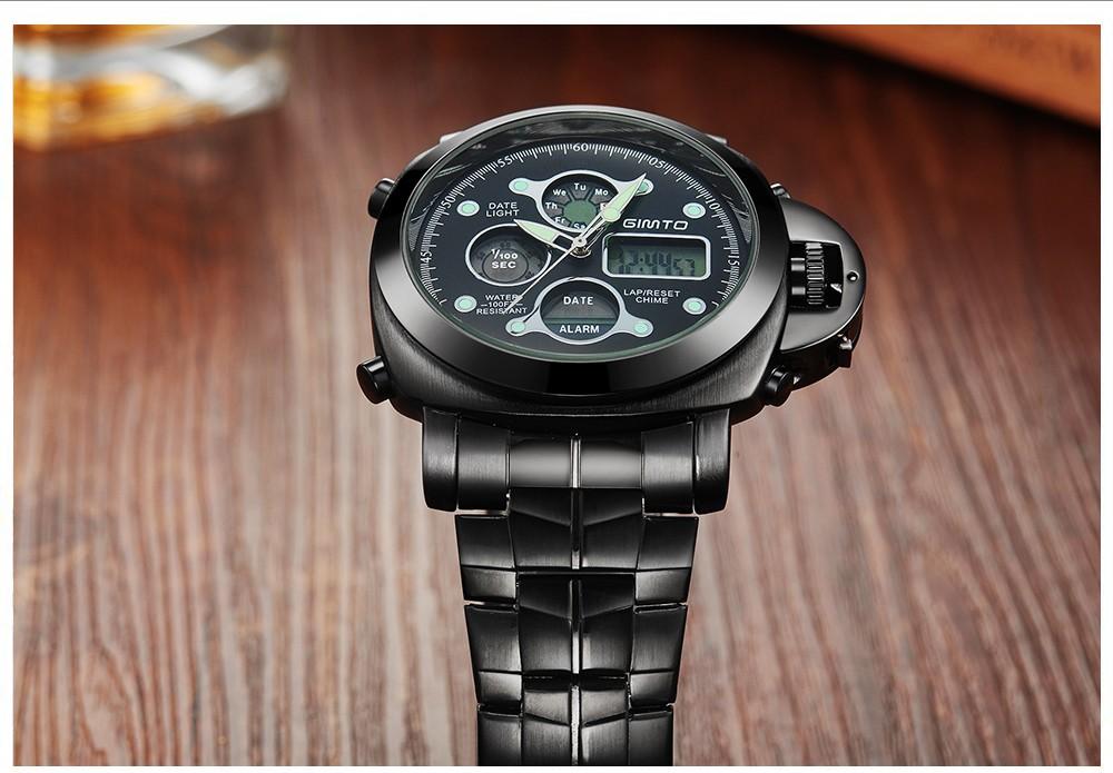 ถูก 2016ร้อนบุรุษยอดนาฬิกาแบรนด์หรูสแตนเลสกันน้ำกีฬาLEDนาฬิกาดิจิตอลธุรกิจผู้ชายควอตซ์-นาฬิกาR Eloj Hombre