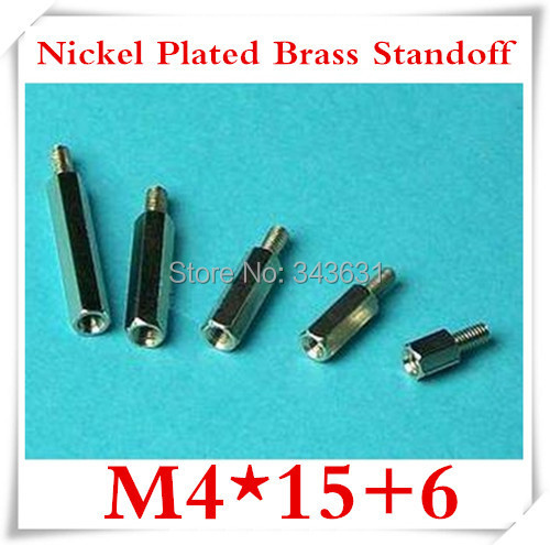 100pcs/lot High Quality M4*15+6 Nickel Plated Brass Standoff Spacer M4 Male x M4 Female<br><br>Aliexpress