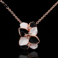 N636 Wholesale Wedding Band Women Necklace Flower Gold Plated Austrian Crystal Pendant Necklace Jewlery Vintage Statement