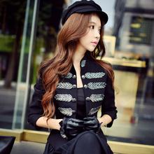 Original 2016 Brand Jacket Women Woolen Embroidery Buttons Stand Plus Size Ladies Vintage Elegant Autumn Winter Coat Wholesale(China (Mainland))