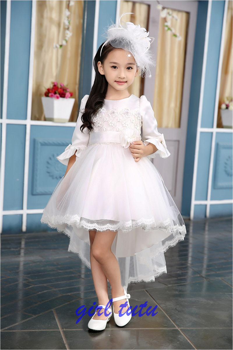 Children dress Princess Tutu winter long sleeved White Lace  Dress Small Tail Girl Costume girl birthday suit  2015<br><br>Aliexpress