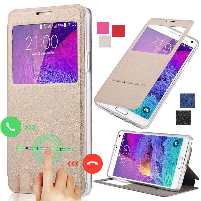 Note 4 Smart Answer Window Leather Case For Samsung Galaxy Note 4 N9100 Auto Unlock Matte Bag Cover TPU Silicon(China (Mainland))