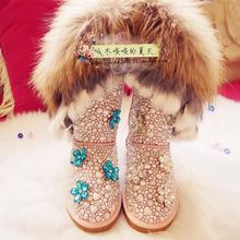 2015 nuevas mujeres del cuero genuino nieve de piel de zorro de la perla pisos Casual Shoes Pink Rhinestone pisos(China (Mainland))