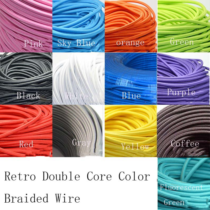Wholesale Price 3m/lot 2x0.75 Color Twisted Wire Twisted Cable Retro Braided Electrical Wire Fabric Wire Eletrical Wire cable(China (Mainland))