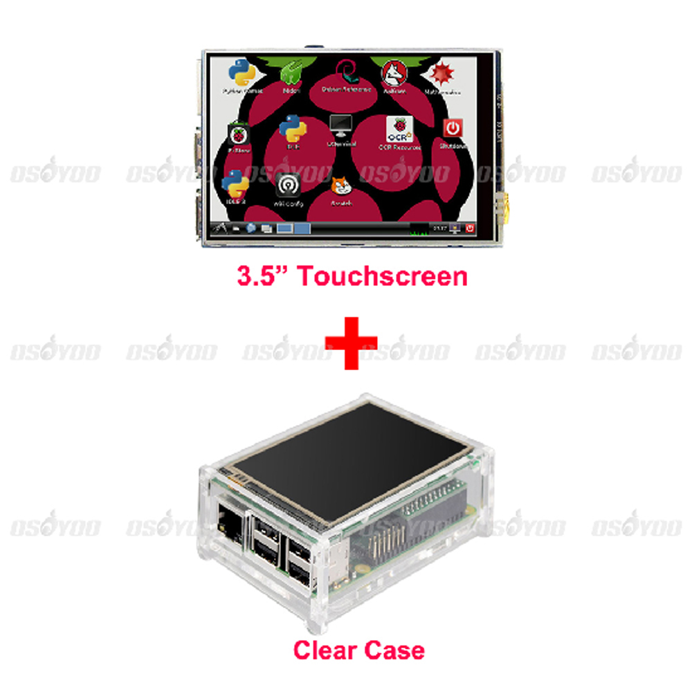"Best Price Original 3.5"" LCD TFT Touch Screen Display for Raspberry Pi 2 Model B Board + Acrylic Case + Stylus Free Shipping(China (Mainland))"