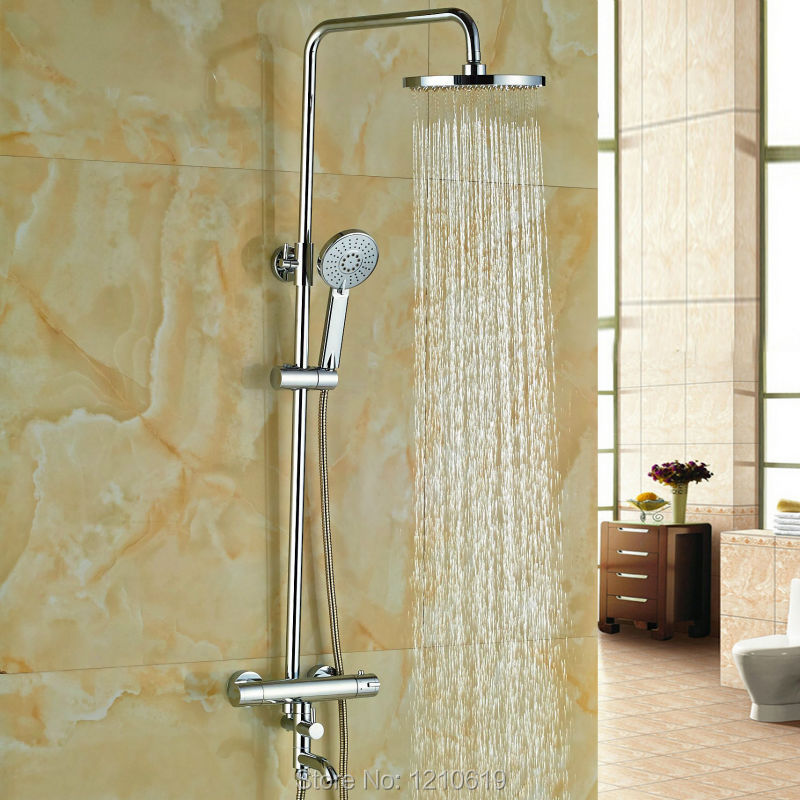 "Newly Bathroom Thermostatic Shower Set Faucet w/ Hand Shower Tub Spout Chrome 8"" Shower Tub Mixer Faucet(China (Mainland))"