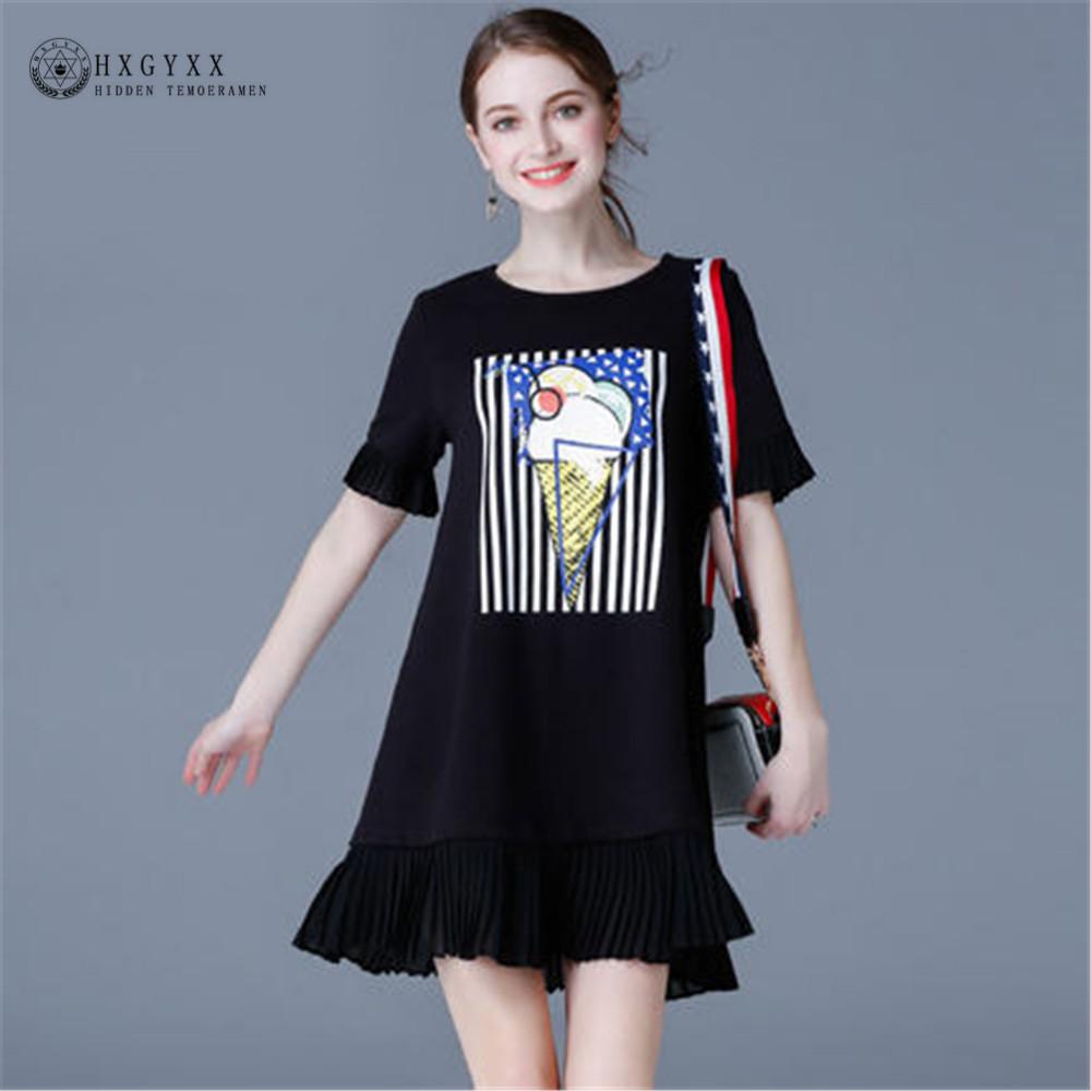 5XL Woman Summer Plus Size Casual Dress Ruffles Sleeve Ice Cream Printed Mini Club Dress A-line Ruffles Hem T-shirt Dress OK124(China (Mainland))