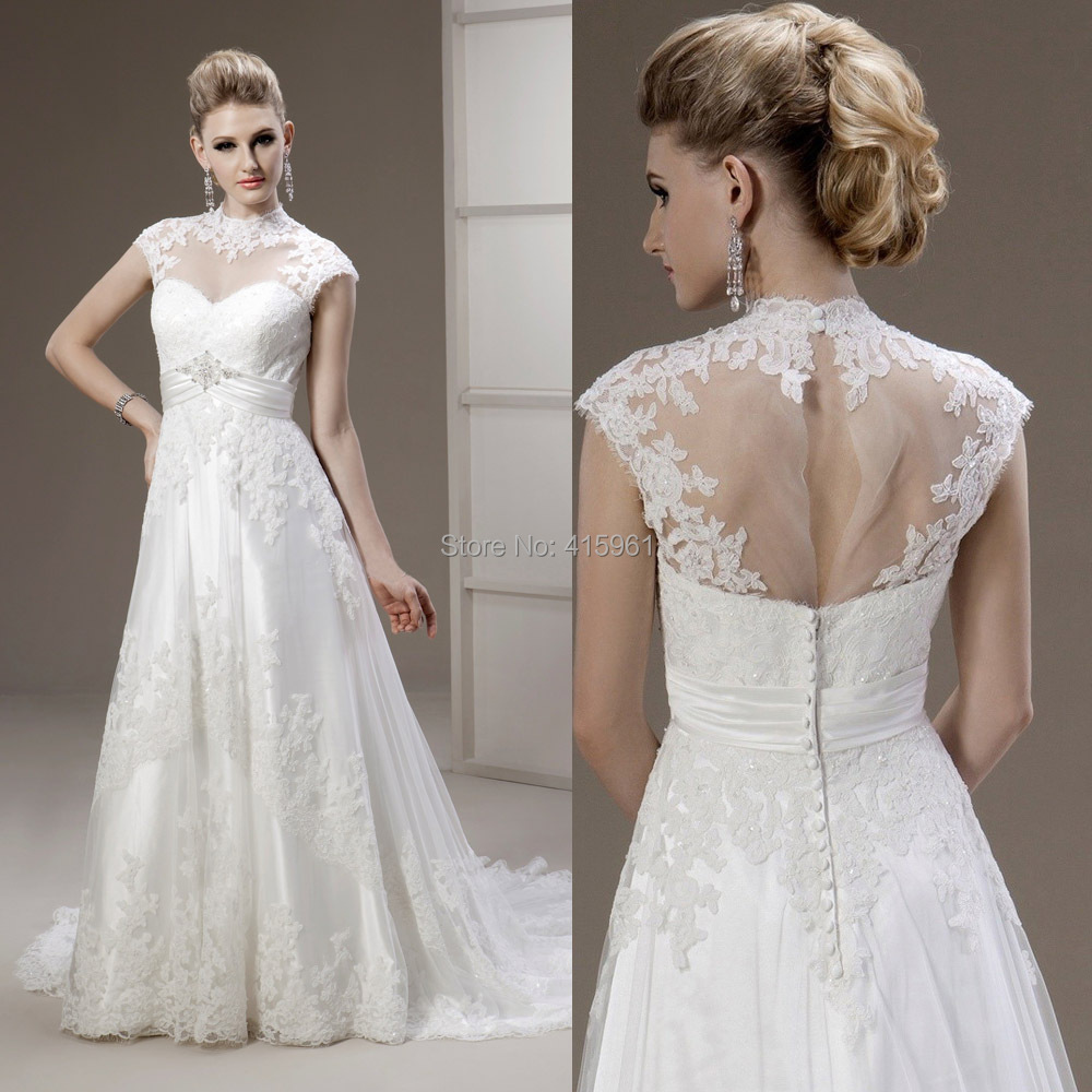 A-line high collar wedding dress