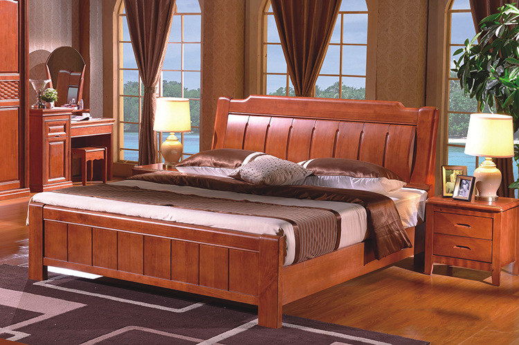 High Quality Chinese Wood Bed Wood Bed Bedroom Furniture Fashion