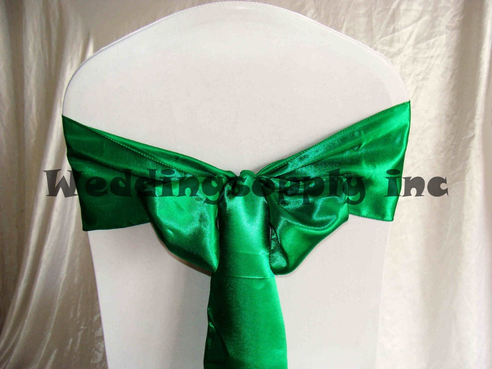 buy 100 emerald green satin chair cover