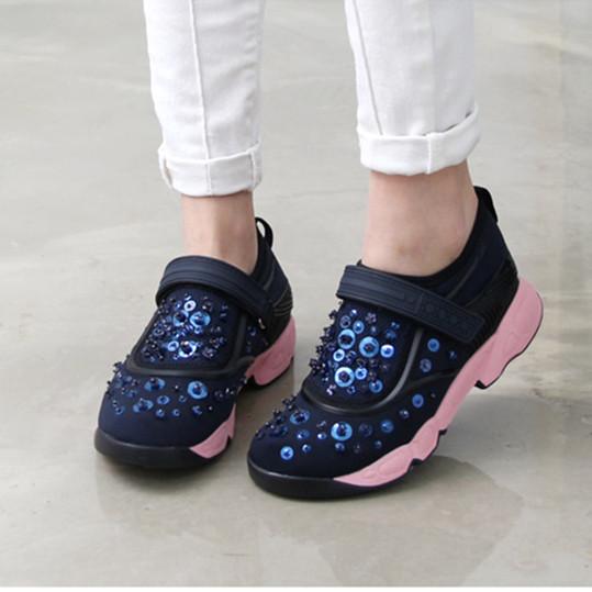 Высокое качество 2016 весна лето спортивная обувь женщины ручной горный хрусталь кроссовки женщин цветы кроссовки, Нет логотипа C-0115