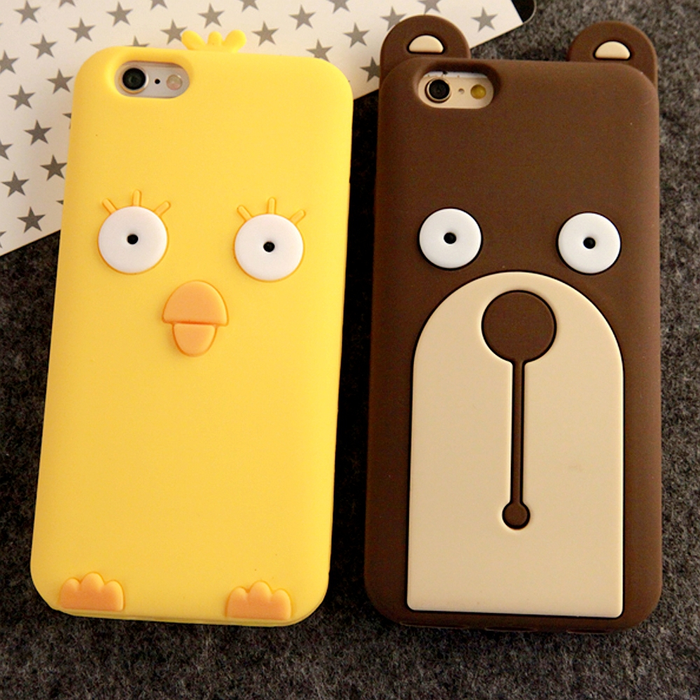 Hot Korean Cartoon Soft Silicone Cute Chicken Bear Case Apple iPhone 5 5S 6 6 Plus 4.7 5.5 inch Design Skin Phone Case Coque