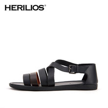 2016 Summer Herilios Men Leather Flat Strap Rome Sandals