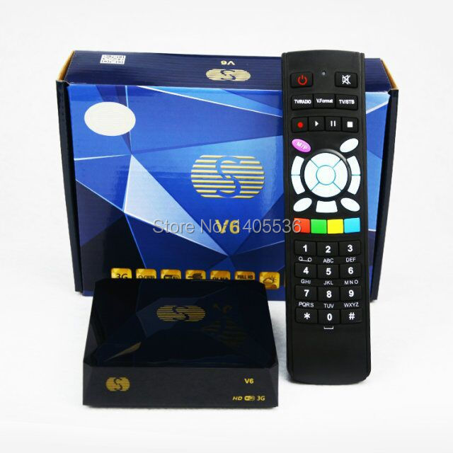 1PCOriginal V6 S-V6 Satellite Receiver Support 2 USB WEB TV Card Sharing Mini Box Free Shipping