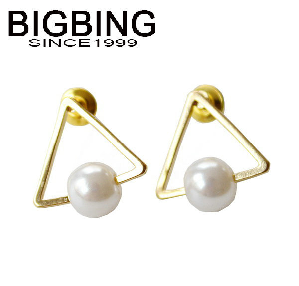 BigBing jewelry fashion Golden Triangle Pearl earrings set stud earring high quality nickel free k400(China (Mainland))