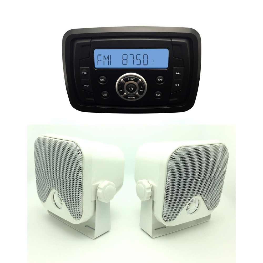 Waterproof UTV ATV Radio MP3 Audio Receiver with Bluetooth Music Marine Stereo Sound System+3.5inch marine Speaker(China (Mainland))