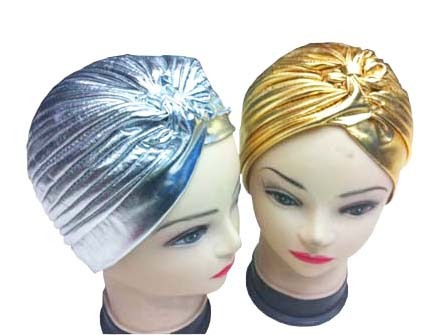 Free Shipping 2015 Shinny Metallic Gold Silver Turban Hats Caps Hijab Hairband Bandana Wrap Hair Loss Chemo Fancy Indian Hats(China (Mainland))