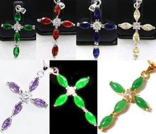 DD 11.23 7 color-fine green/red/yellow/blue/purple zirconia/jade 18KGP cross pendant can choose Discount 35%(China (Mainland))