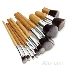 11Pcs Wood Handle Makeup Cosmetic Eyeshadow Foundation Concealer Brush Set brushes 02Q6(China (Mainland))