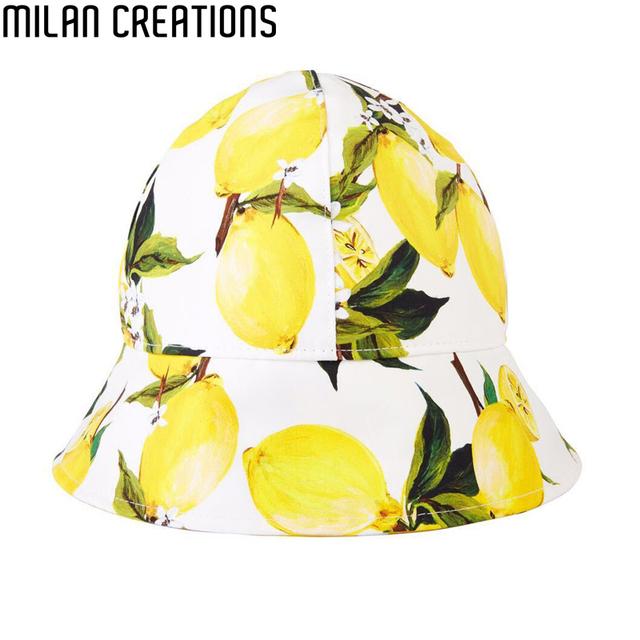 Девушки шляпы летом 2016 дети ведро шляпу лимон печать дети солнца шляпы дизайн флоппи-бич ...