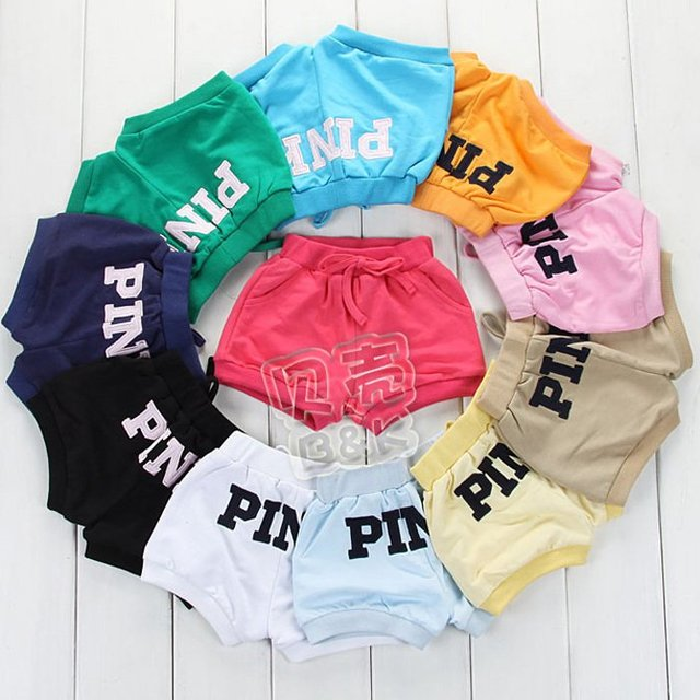 Kids Baby Shorts for Boys & Girls-Candy Color with Letter Pink