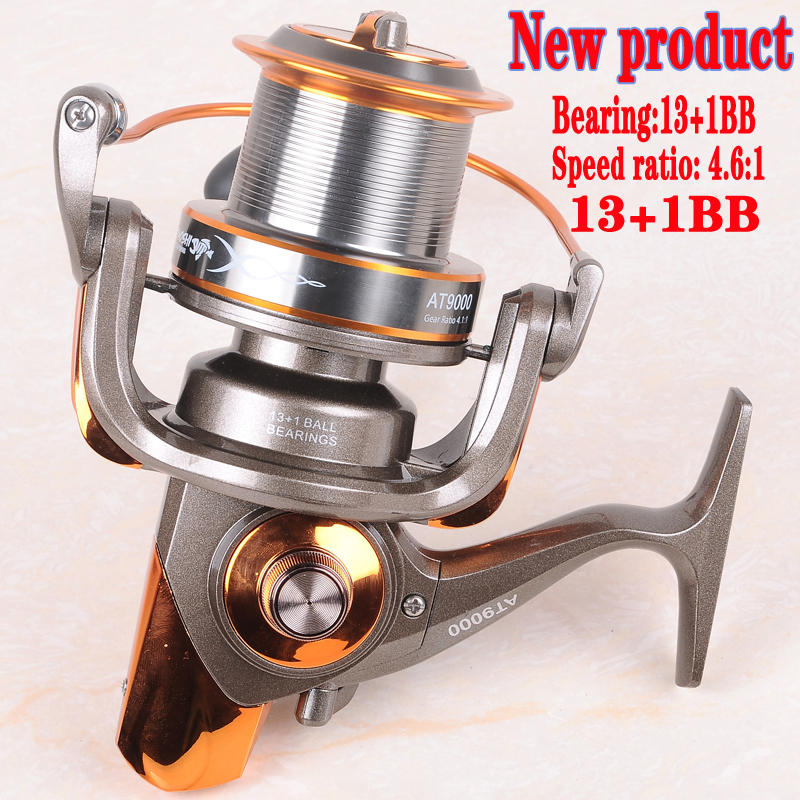 Hynix 8000/9000 13+1BB long shot reel casting for carp and salt water surf spinning big sea fishing reel4.6:1 Metal Fishing Reel(China (Mainland))