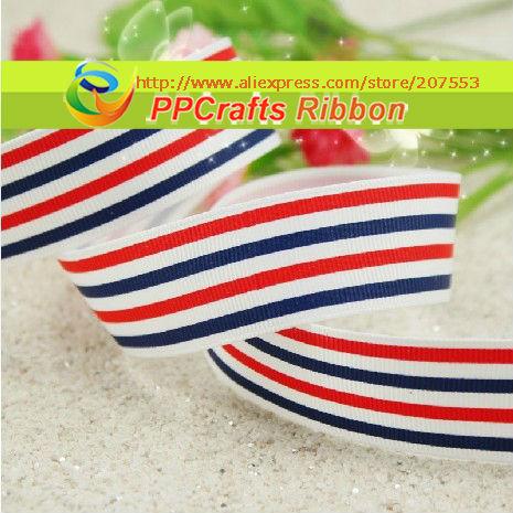 PPCrafts Ribbon Bulk/OEM 1 inch 25mm Blue/Red/White Stripe Flags Printed Grosgrain ribbon 100yds/roll free shipping