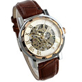 Perfect Gift Luxury men s watch Leather Band Stainless skeleton watch brown Mechanical Watch Levert Dropship