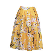 2016 Summer Women High Waist Skirt Floral Print Knee-Length Casual Skirts OL Elegant Flowers Printed Gall Gown 5 Colors B999S