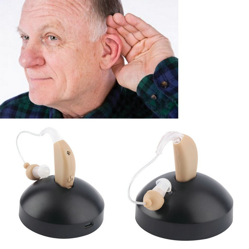 Rechargeable ear hearing aid mini device ear amplifier digital hearing aids behind the ear for elderly acustico EU plug Hot(China (Mainland))
