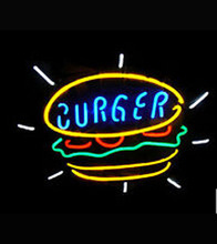 """New Hot 2015 Hot Neon Sign Commercial neon sign BURGER FOOD REAL NEON SIGN BRIGHT RESTAURANT STORE BAR LIGHT DISPLAY 17""""w * 14""""h(China (Mainland))"""