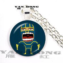 Yanhong 2019, moda cristal de vidro colar 25mm. Homem-aranha, superman cartoon é um presente favorito para jovens amigos(China)