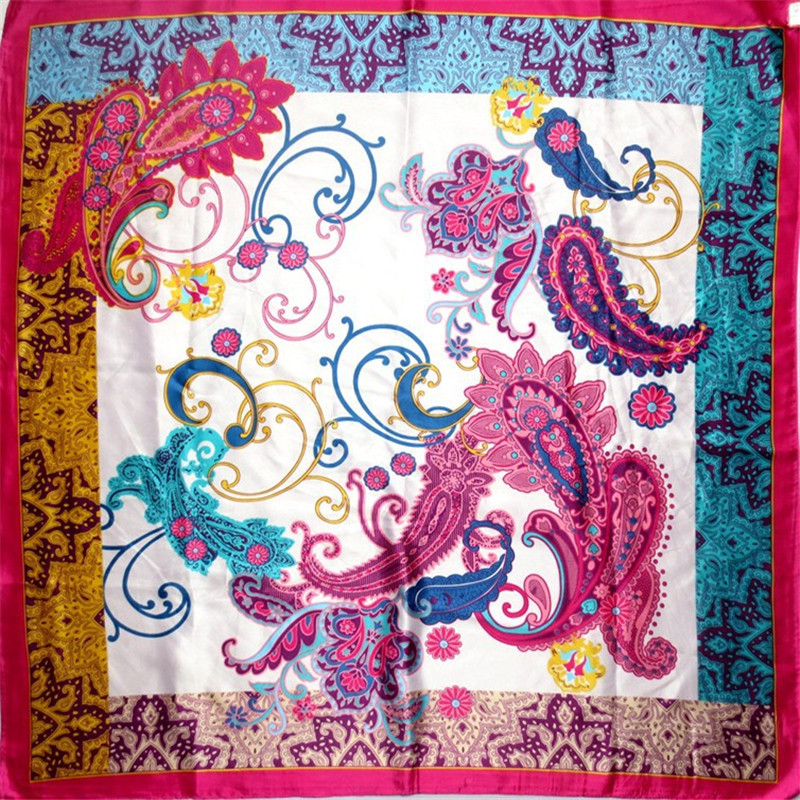 New Arrival Occident Palace Cashew Nut Flower Pattern Silk Brand Scarf Multi-Color Square Scarf for Women SH1510236(China (Mainland))