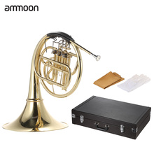ammoon B/Bb Flat 3 Key French Horn Brass Gold Lacquer Single-Row Split Wind Instrument with Cupronickel Mouthpiece Case(China (Mainland))