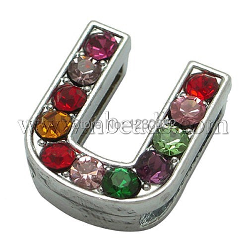 Alloy Rhinestone Letter U Slide Charms Fit DIY Wristbands & Bracelets, about 12mm wide, 14mm long, 5mm thick, hole: 11x2mm(China (Mainland))