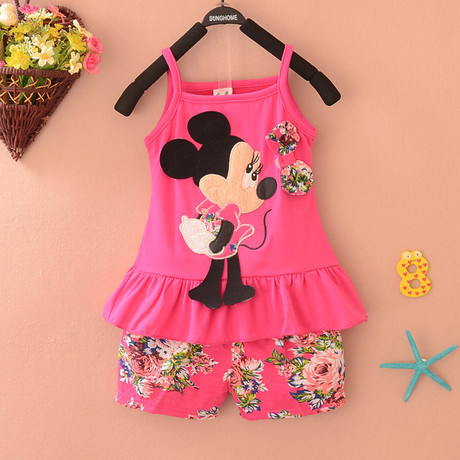 2015 Summer baby sets, 0-2 years old sling skirts, cute cartoon pattern beautiful flowers, dress + pants suit - BEST ON LINE STORE store