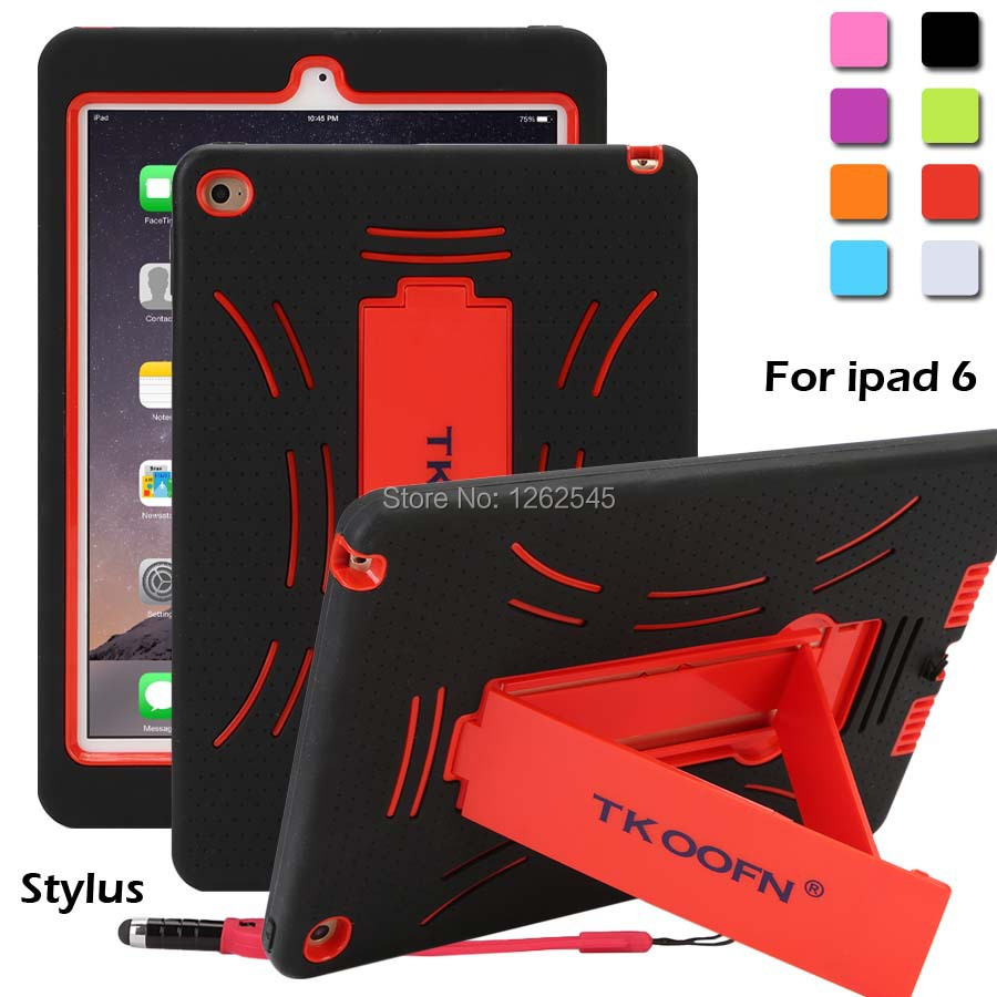 Shockproof Heavy Duty Case For iPad Air 2 Protect Skin Rubber Hybrid Cover Stand Case For iPad 6(China (Mainland))