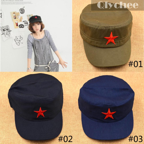 Nostalgic Style Military Hats China Army Handmade Cotton Velcro Cap/Hat Red Star Chairmen Mao Communist Party